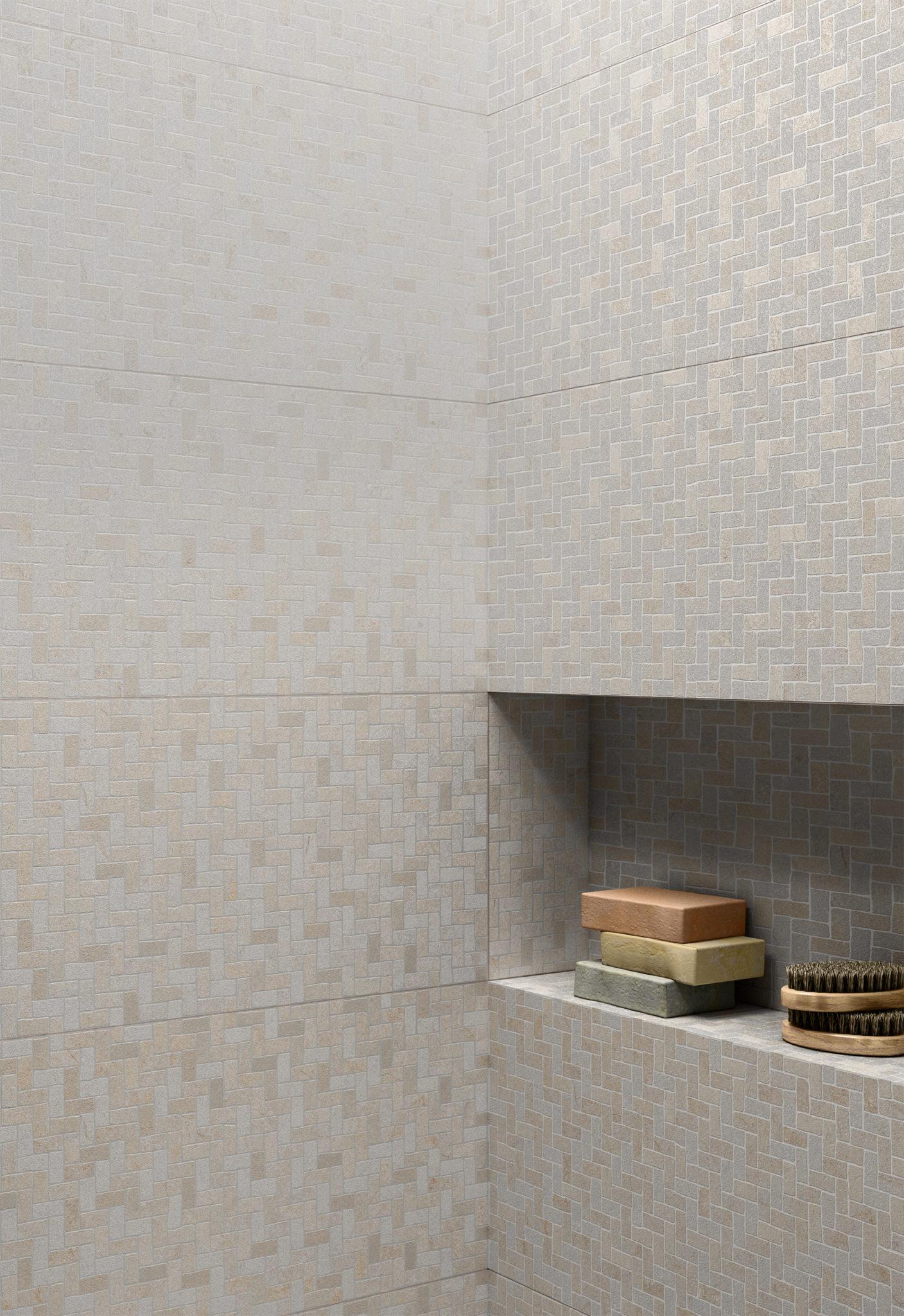 Rendering bagno con lastre ceramica