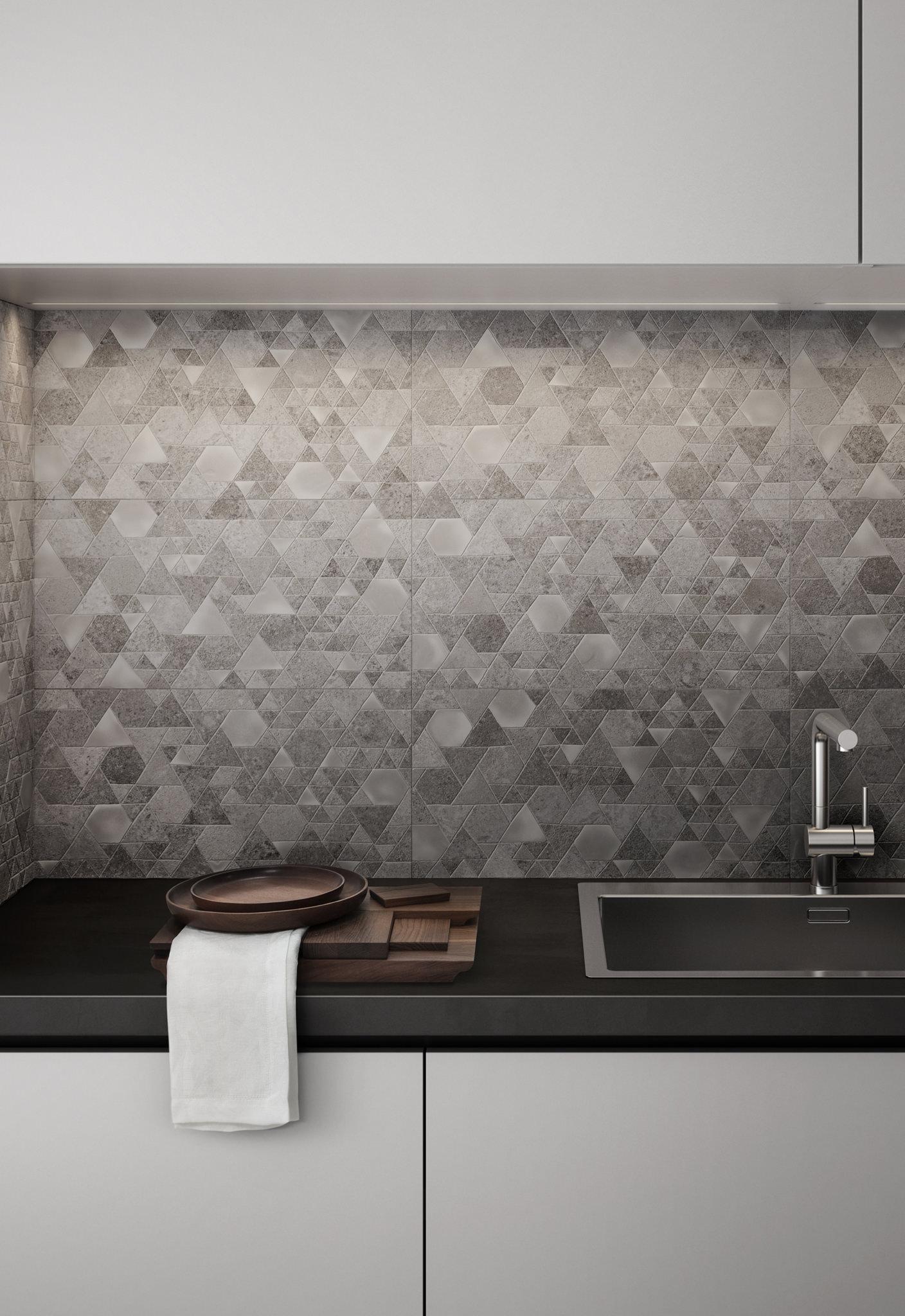 Rendering in dettaglio di una cucina con piastrelle ceramica