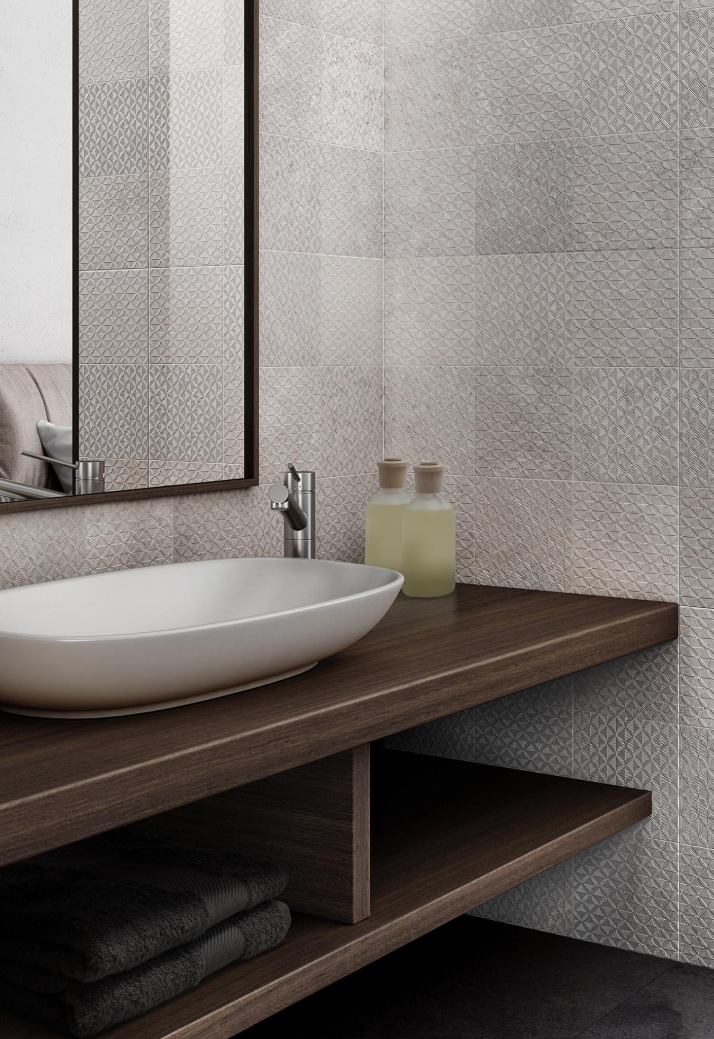 Rendering bagno hotel con lastre ceramiche in dettaglio