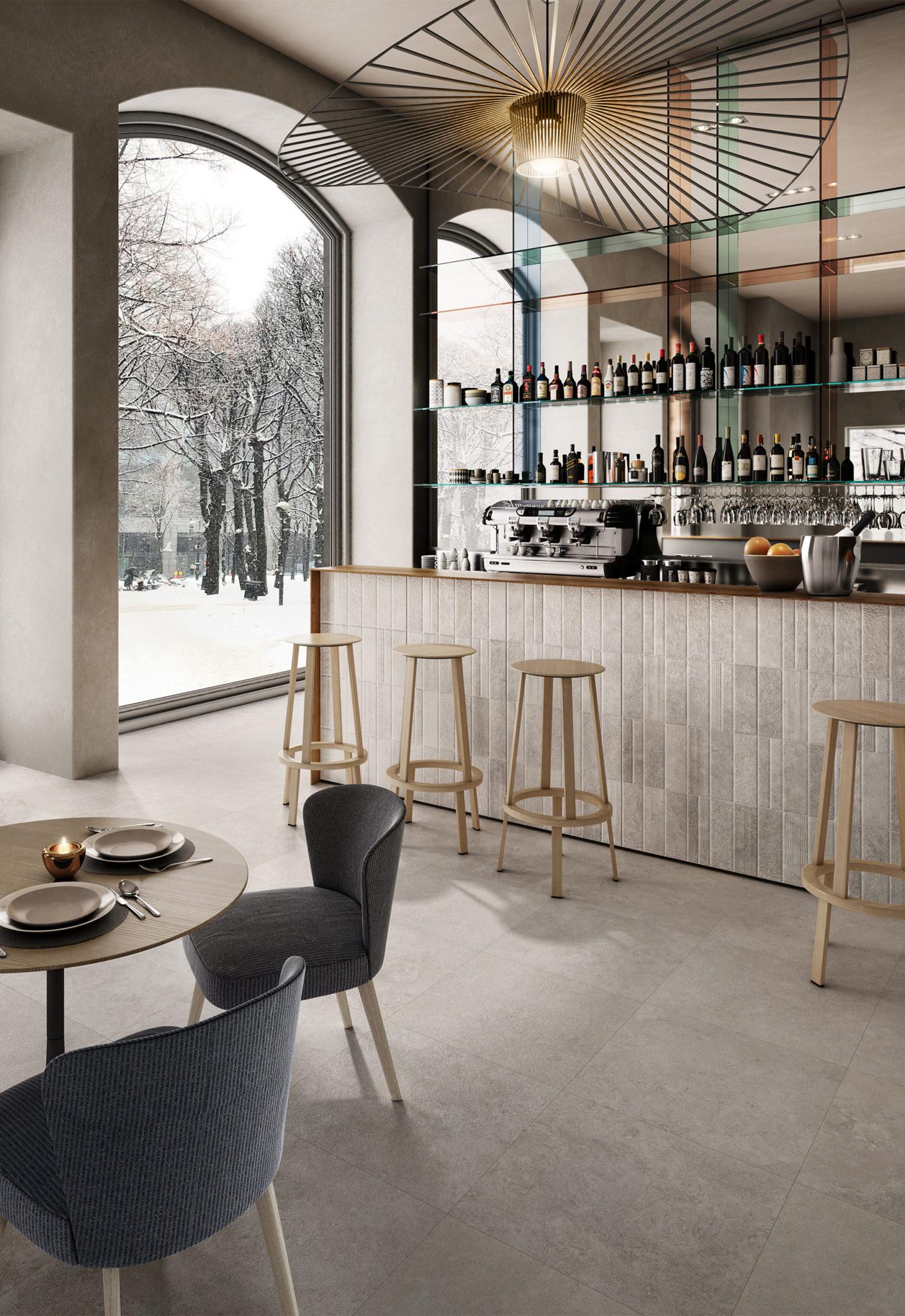 Rendering hotel bar con lastre in ceramica