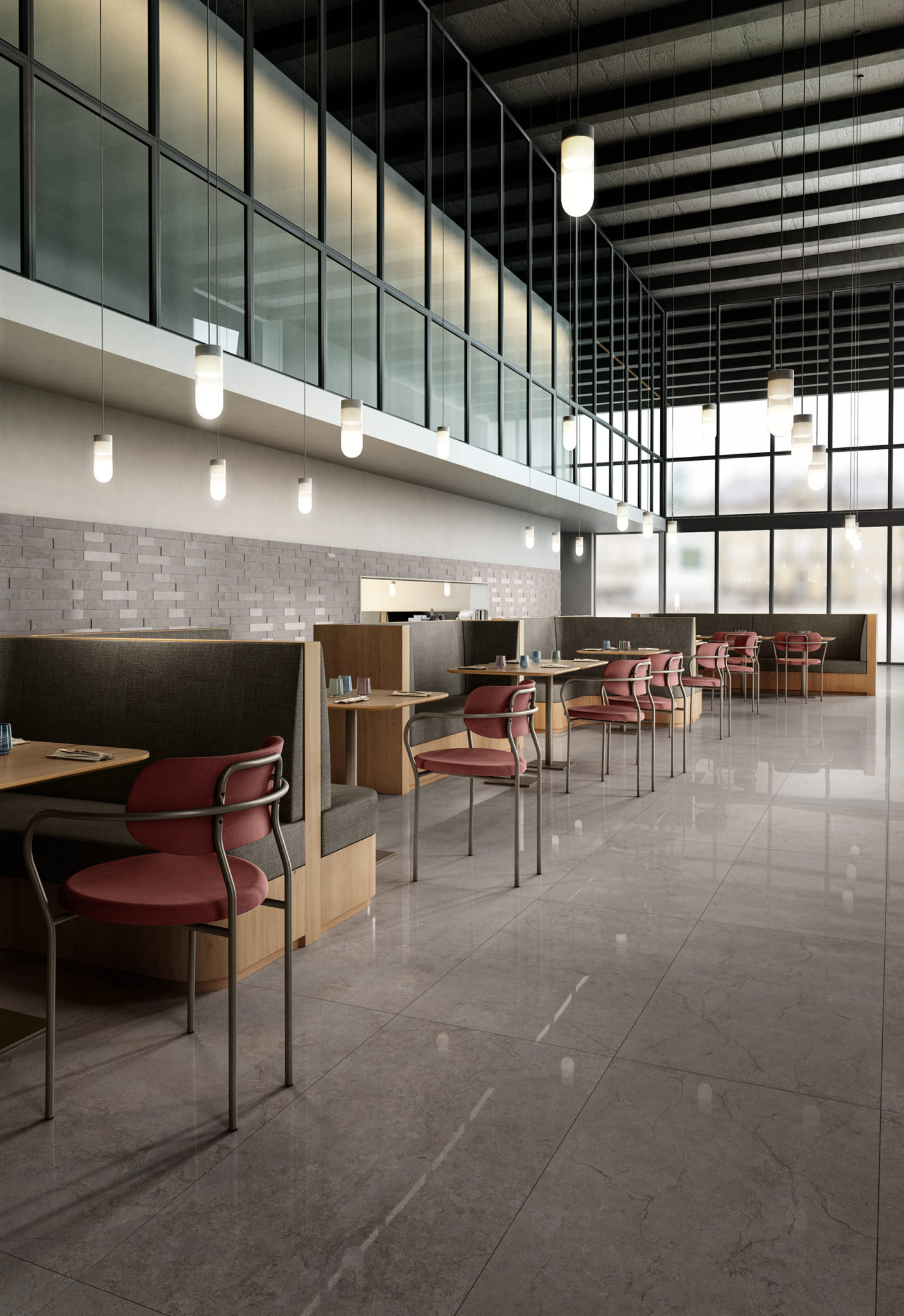 Rendering ceramiche in caffetteria con tavolini e sedie