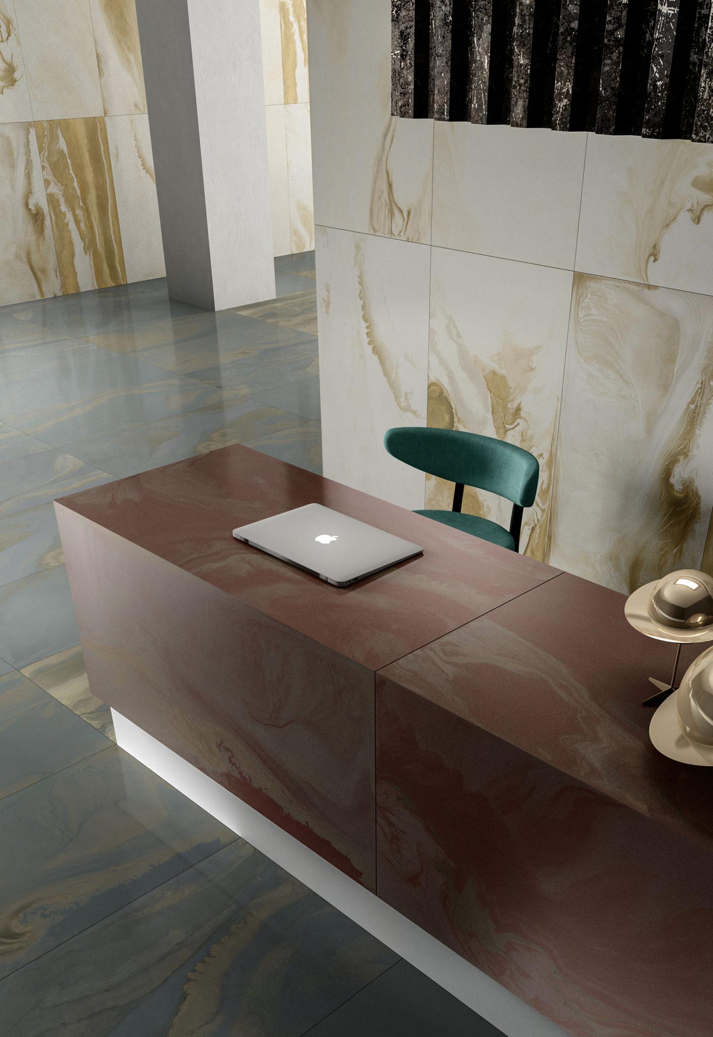 Rendering lastre ceramica Iris Cosmic Hall