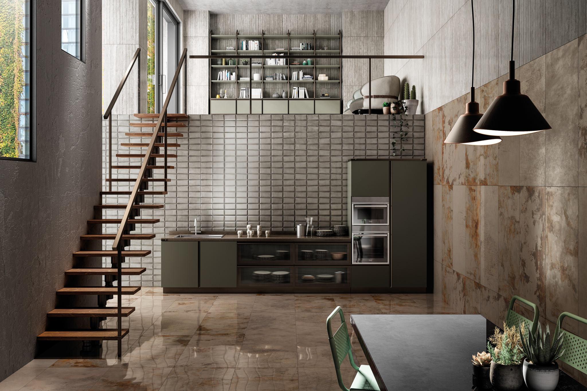Rendering cucina moderna con tavolo e sedie
