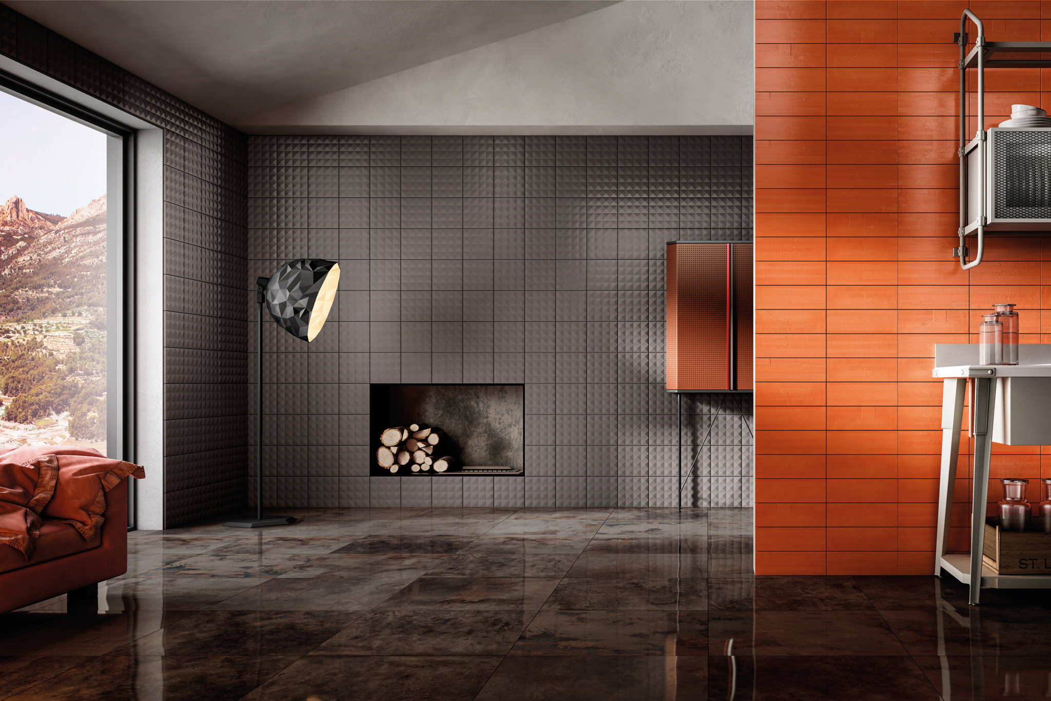 Rendering living room lastre in ceramica colorate Iris Diesel