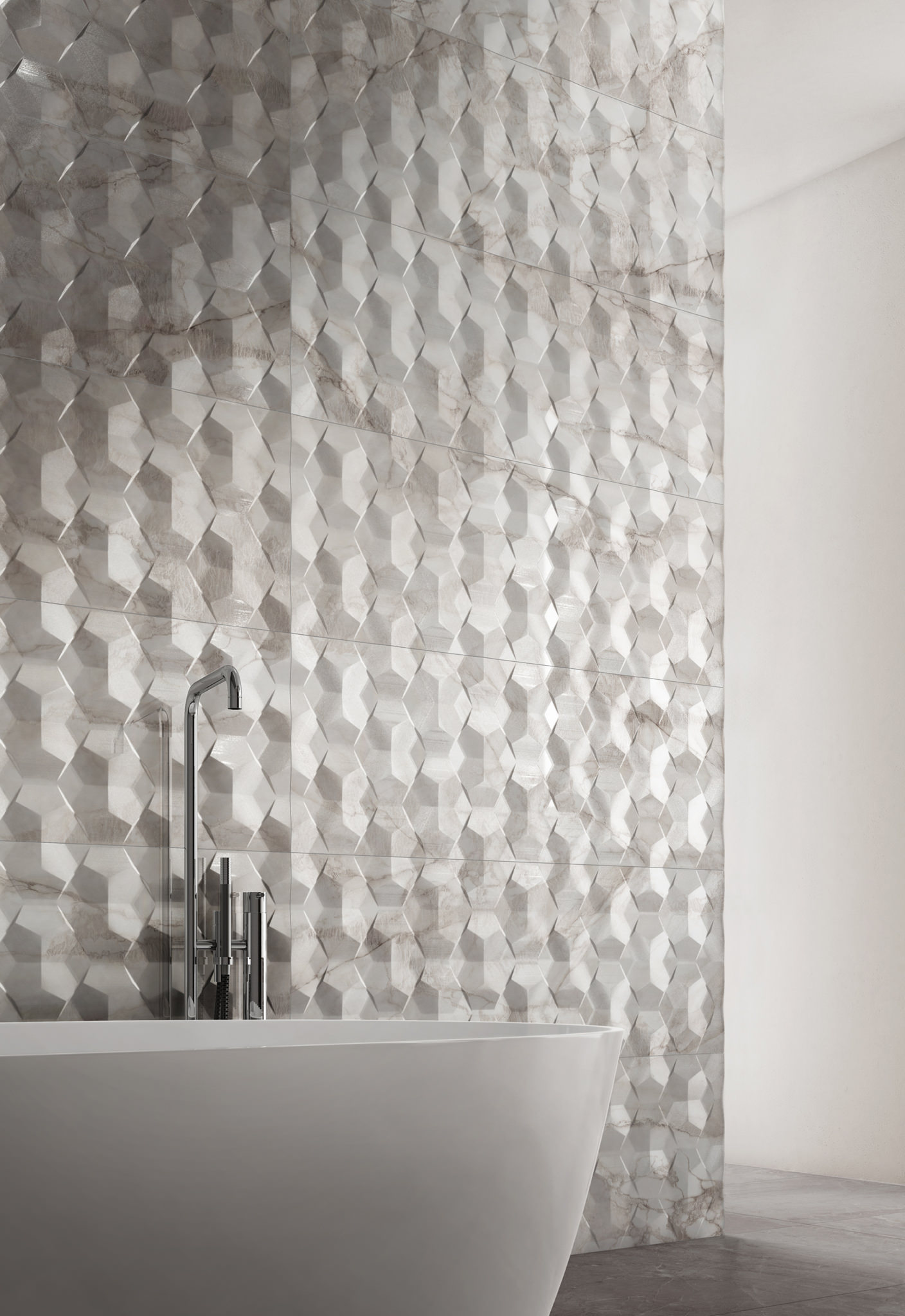 Rendering interno con ceramica Valentino in bagno bianco