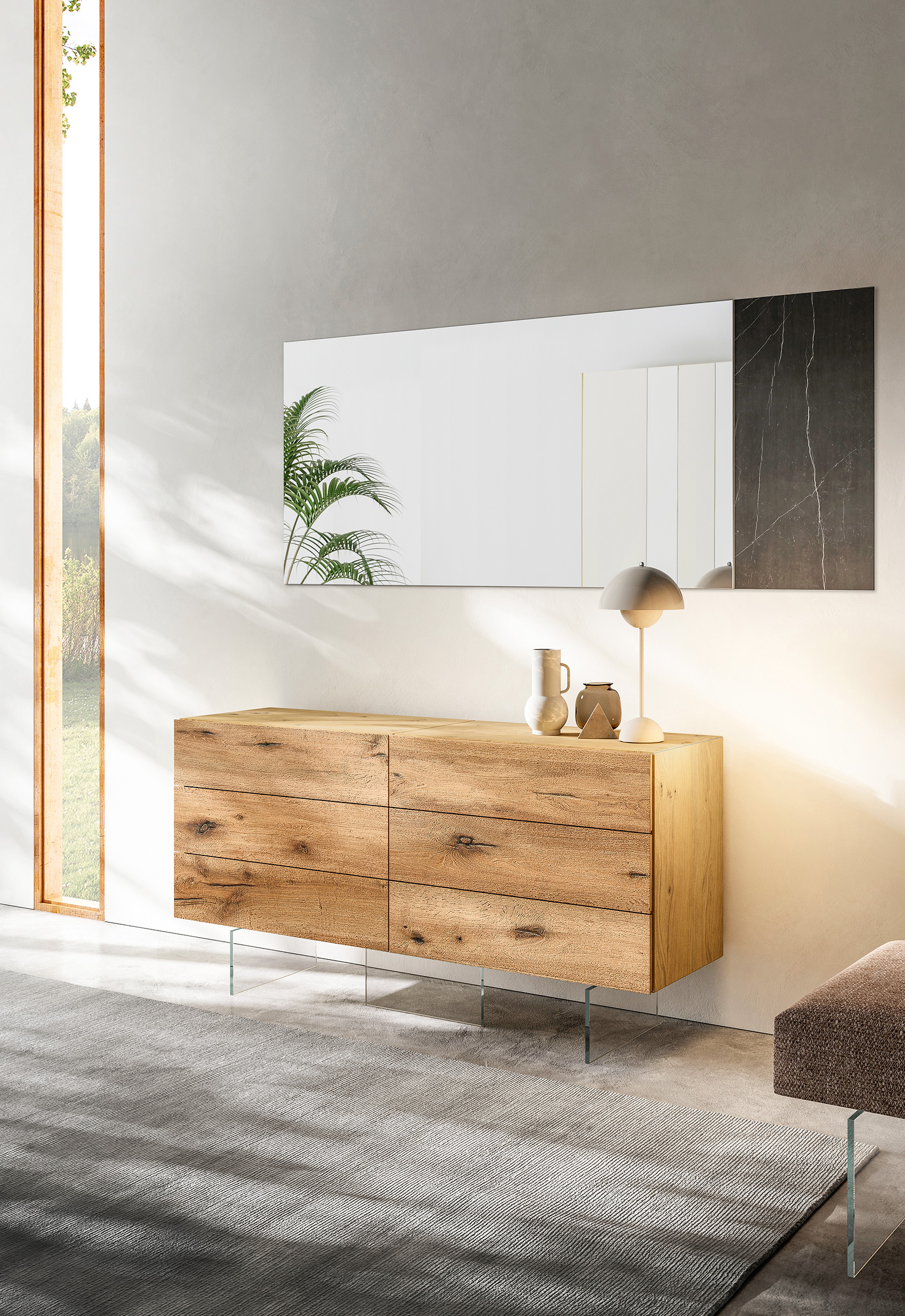 Rendering arredamento camera LAGO madia air legno