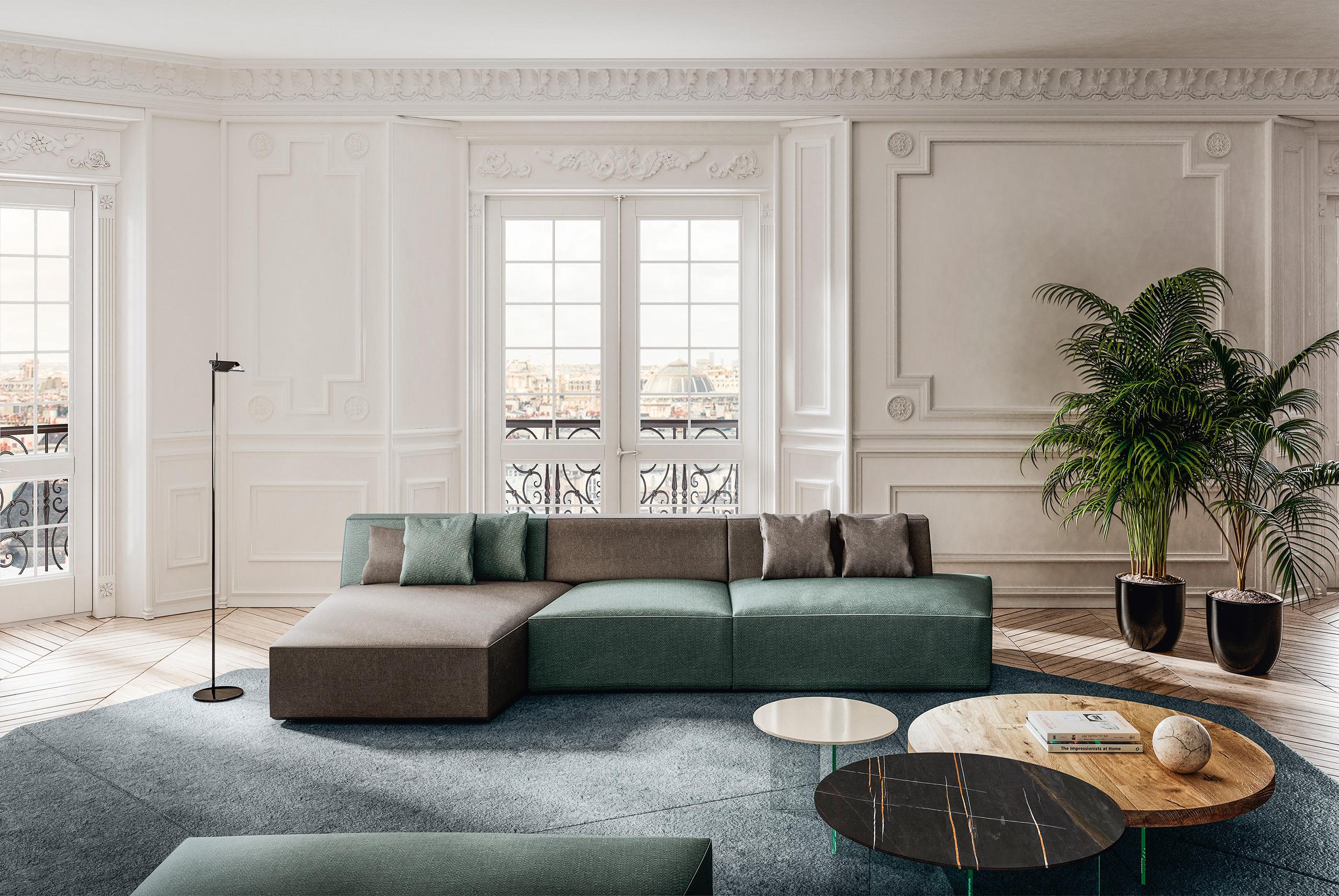 Rendering arredamento living LAGO divano Parigi