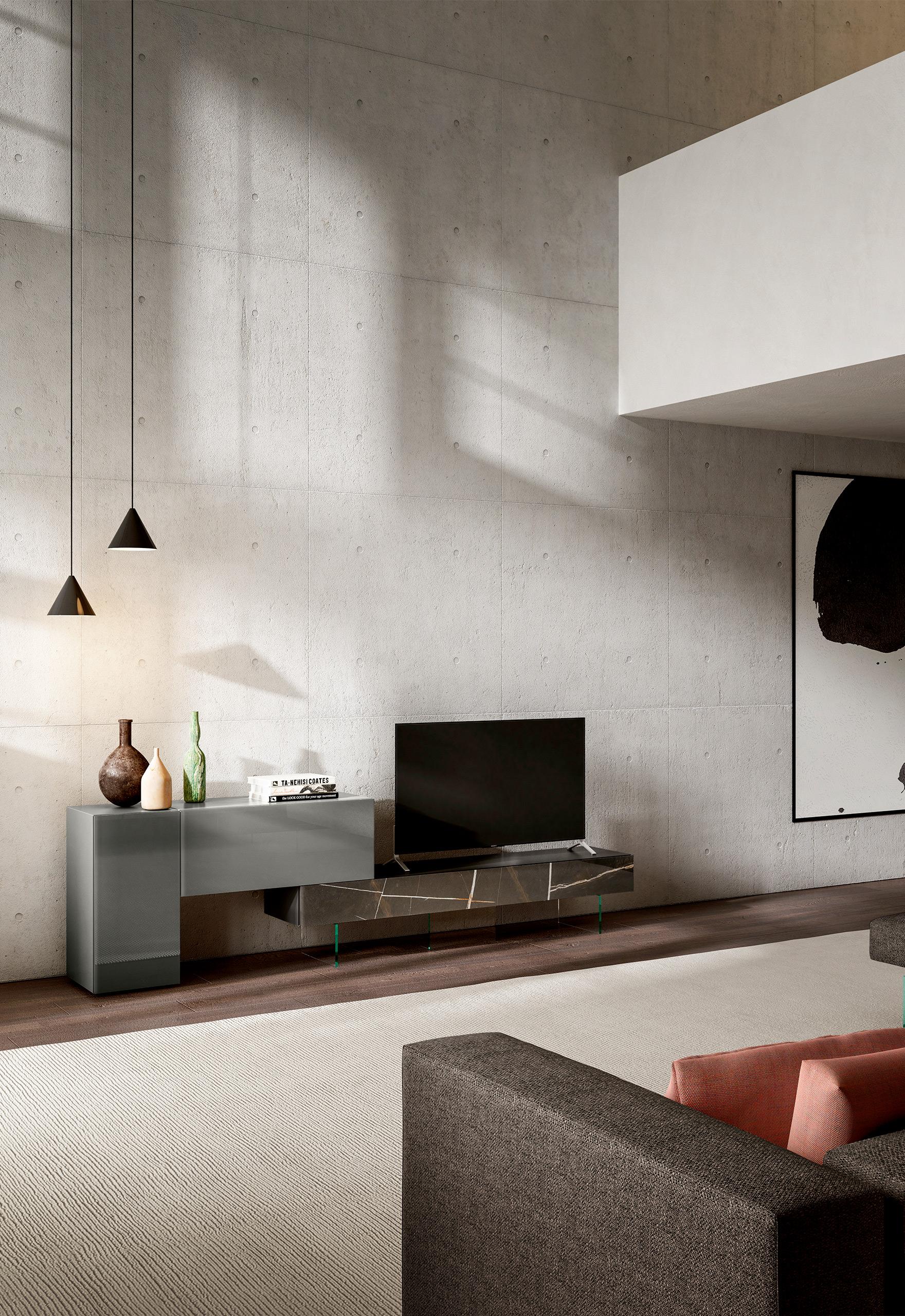 Rendering arredamento living LAGO consolle TV