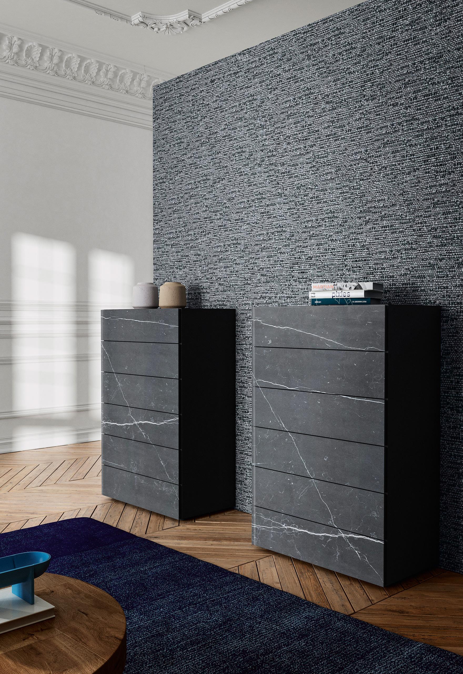 Rendering arredamento camera LAGO cassettiere marmo nero