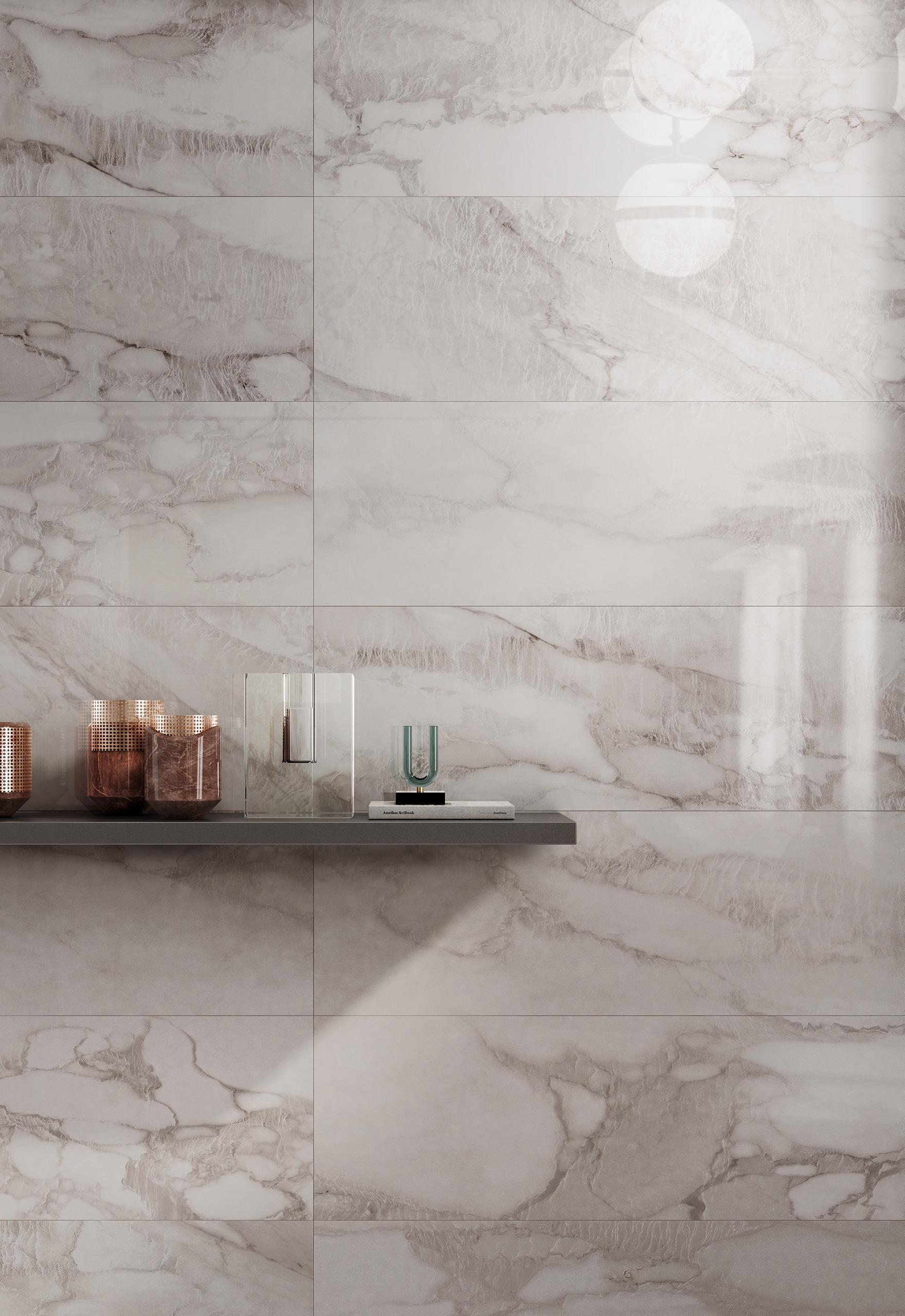 Rendering interno con ceramica Valentino in bagno mamro