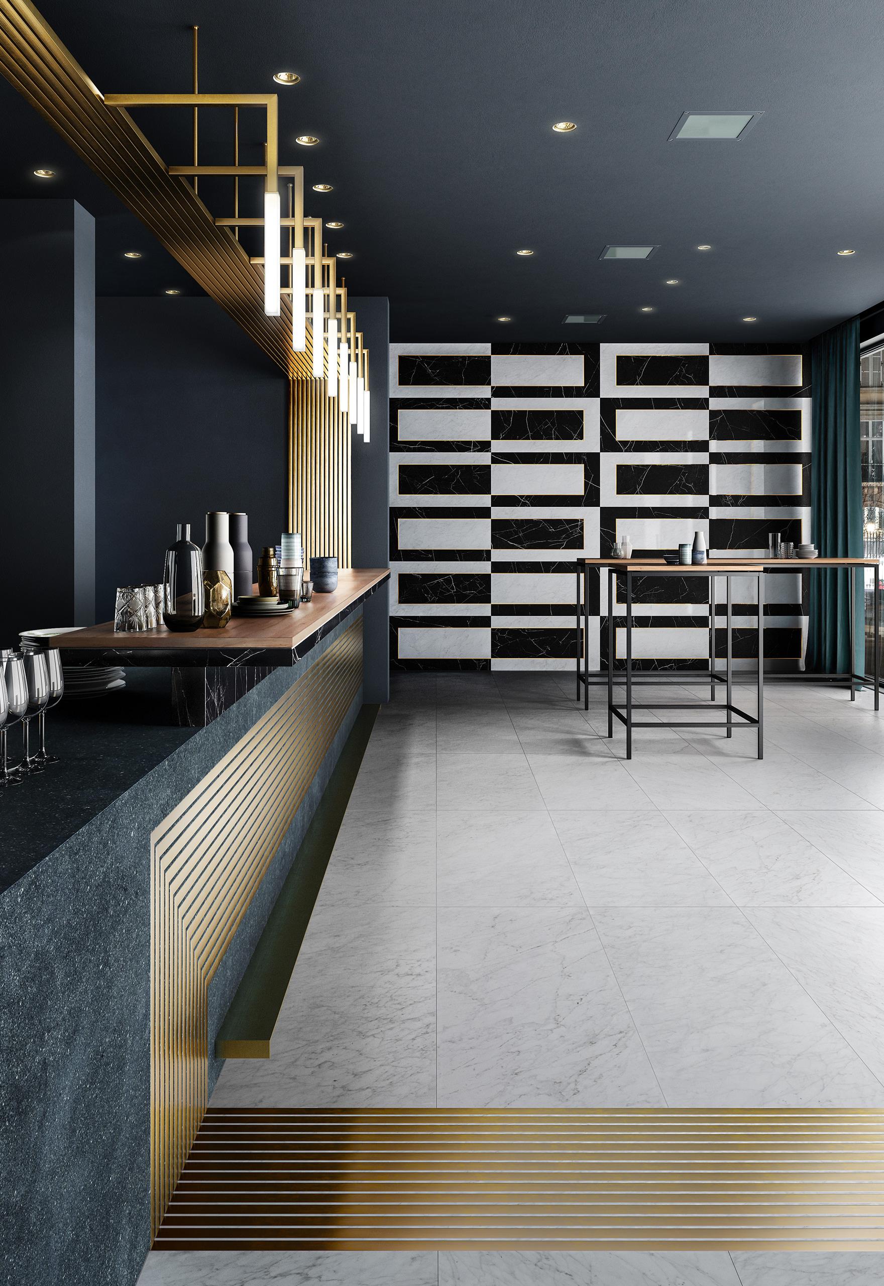 Rendering interno con ceramica Valentino in cucina