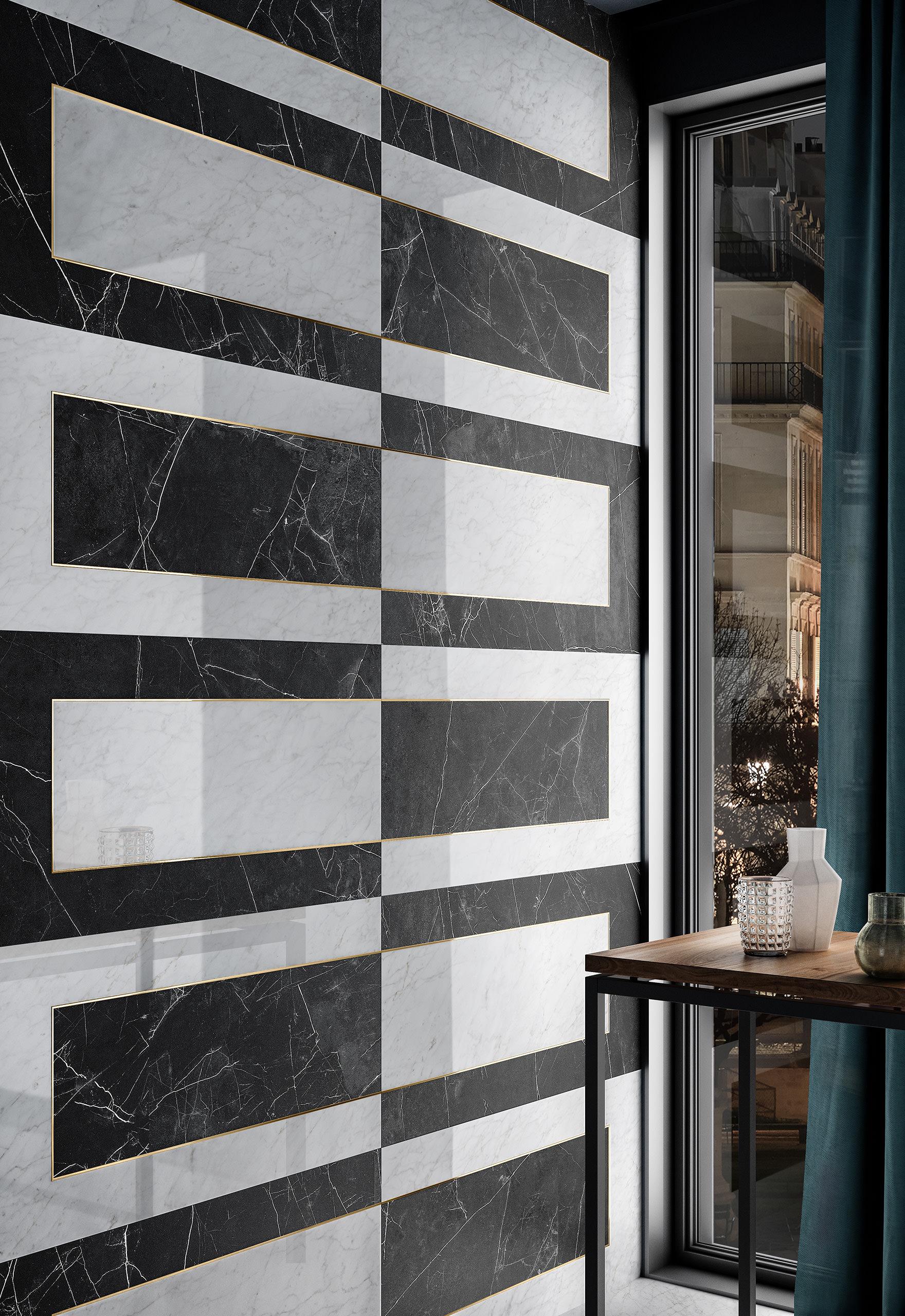 Rendering interno con ceramica Valentino in dettaglio parete