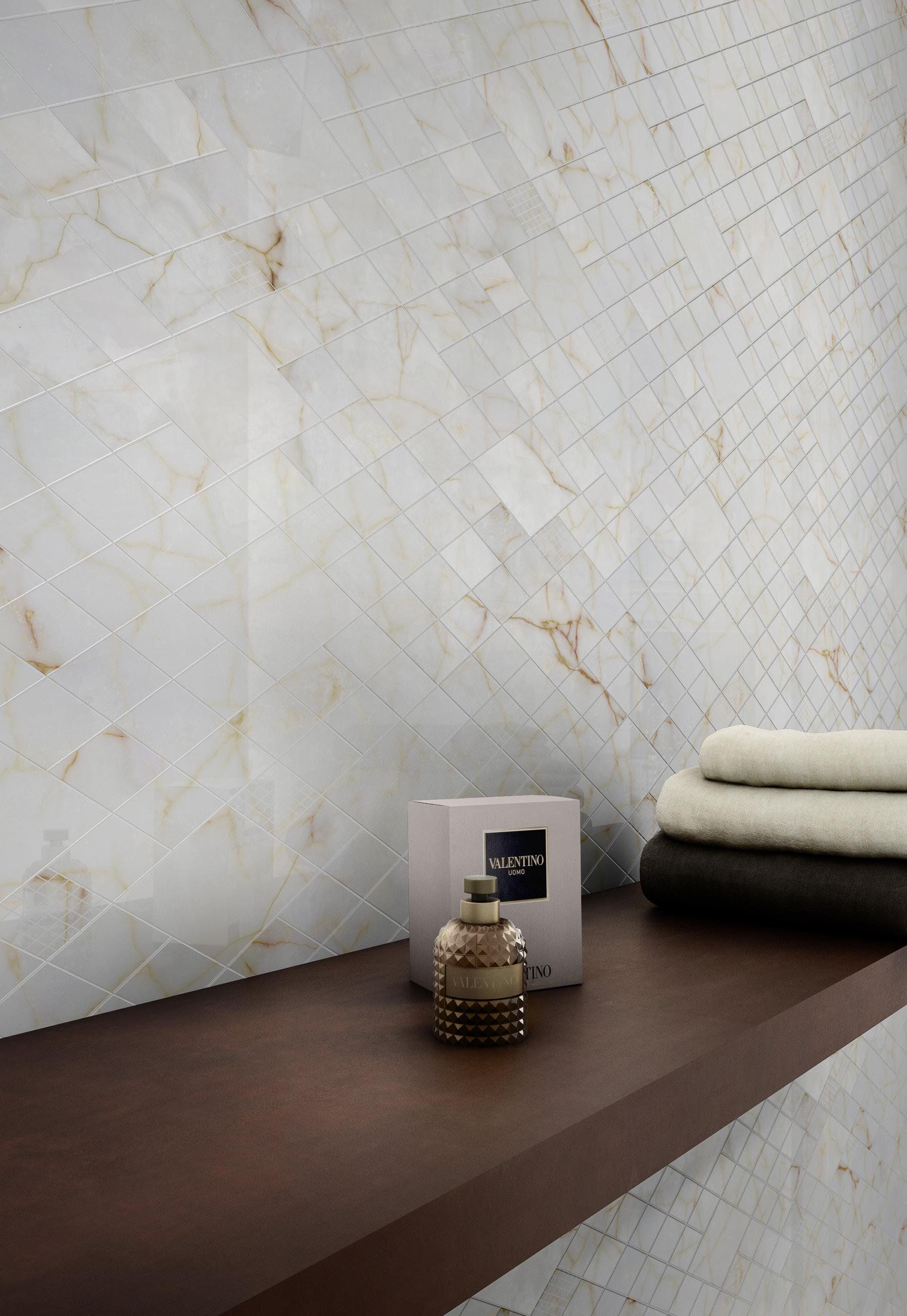 Rendering interno con ceramica Valentino in dettaglio parete e profumo