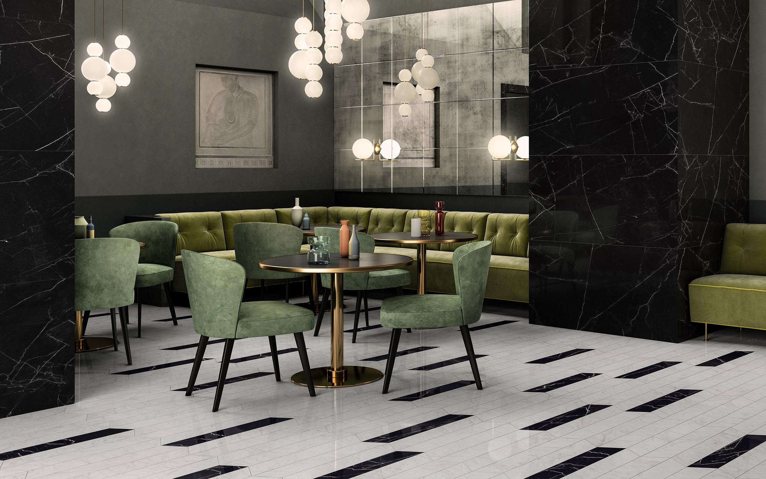Rendering ceramica interni Valentino living ristorante