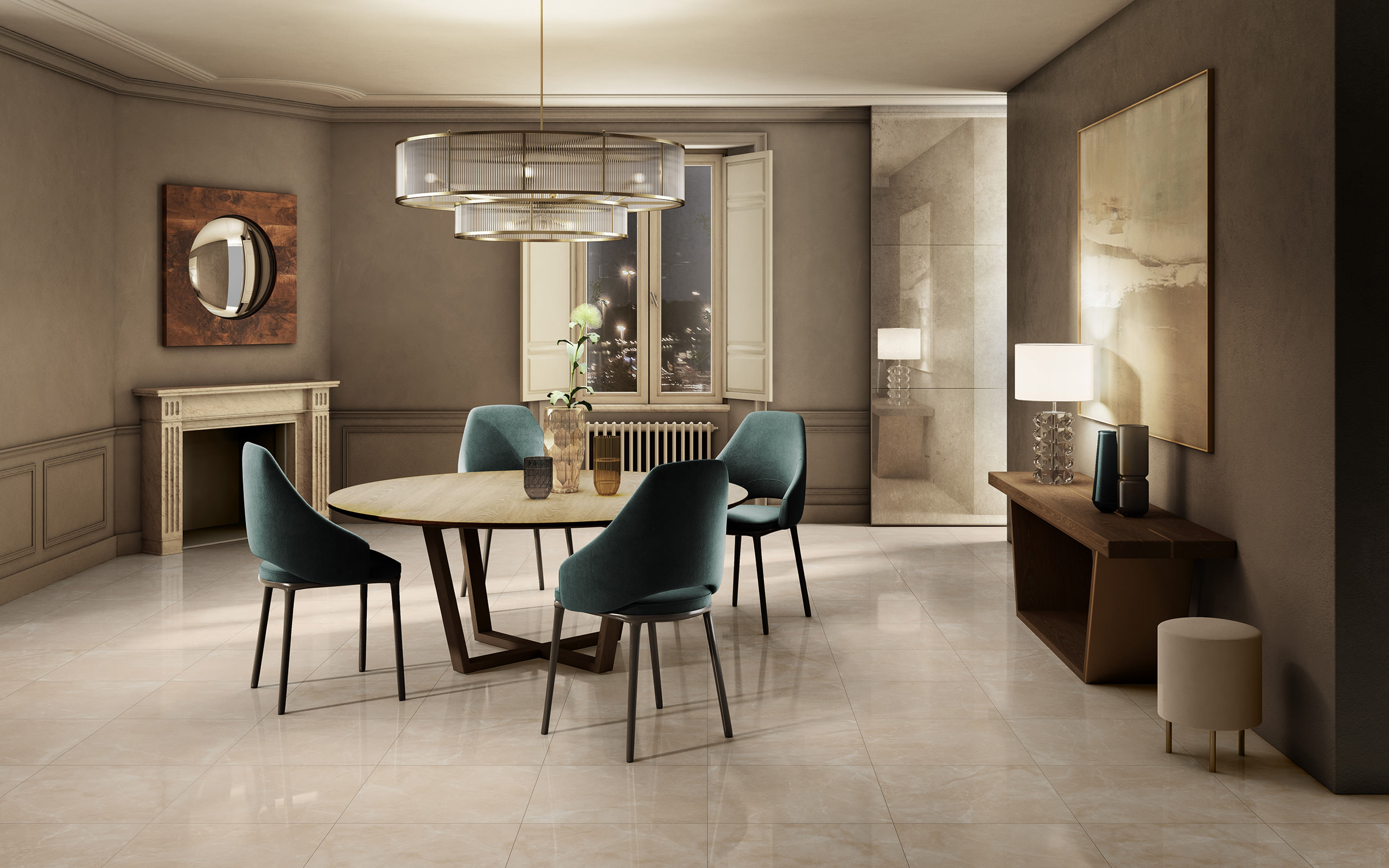 Rendering ceramica interni Valentino living casa