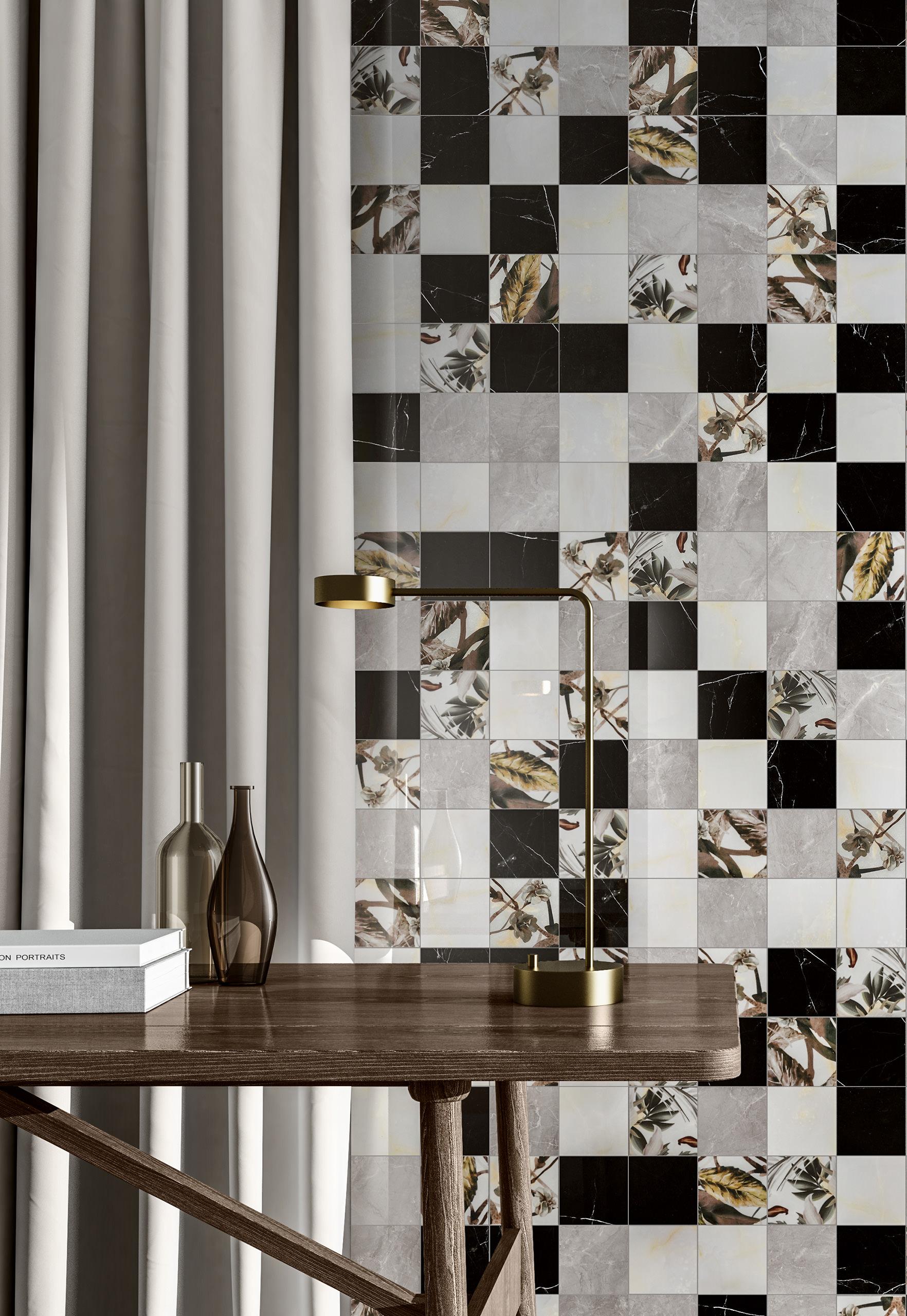 Rendering ceramica interni Valentino living mosaico