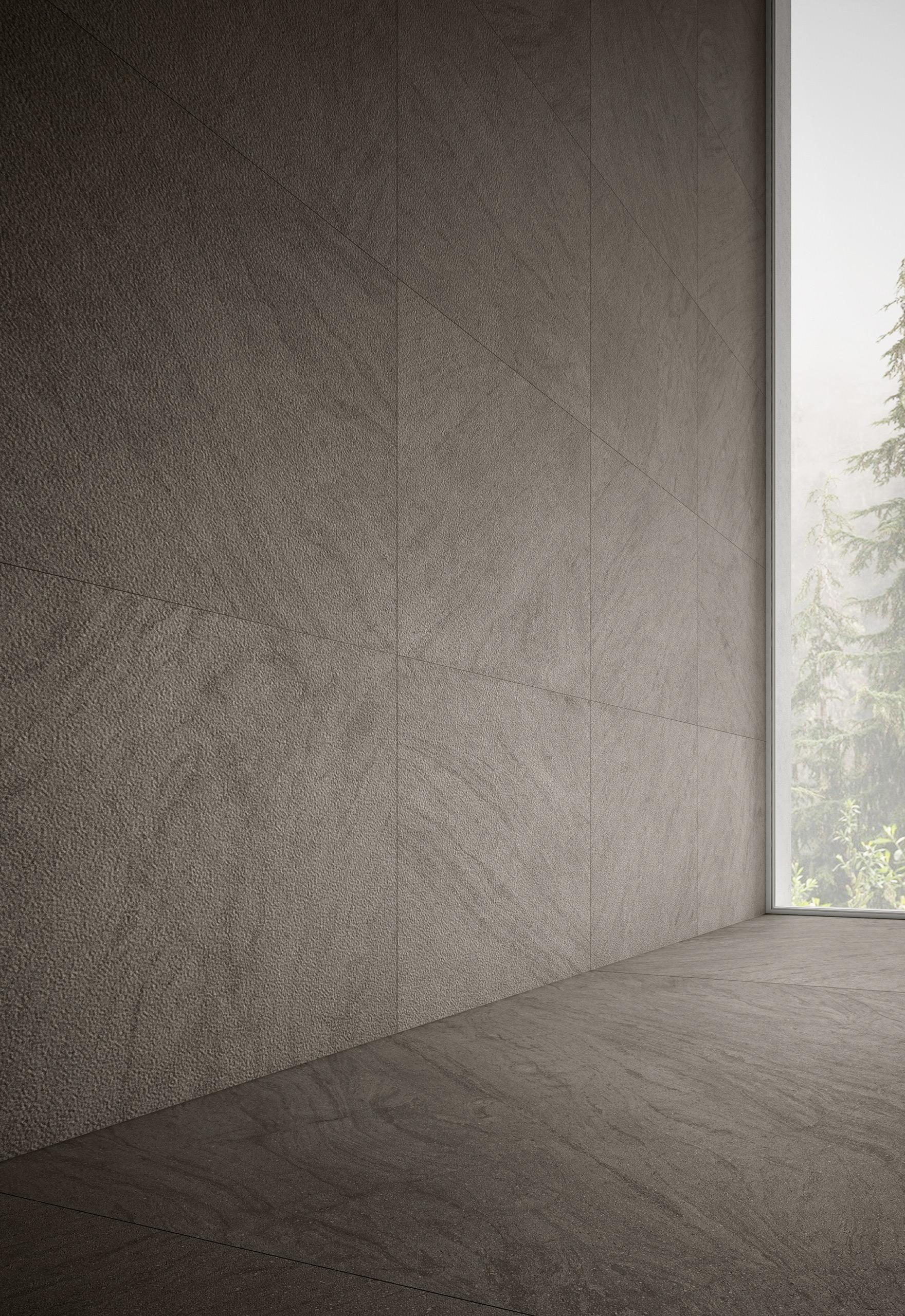 Rendering esterni interni fotorealistici Caesar living parete