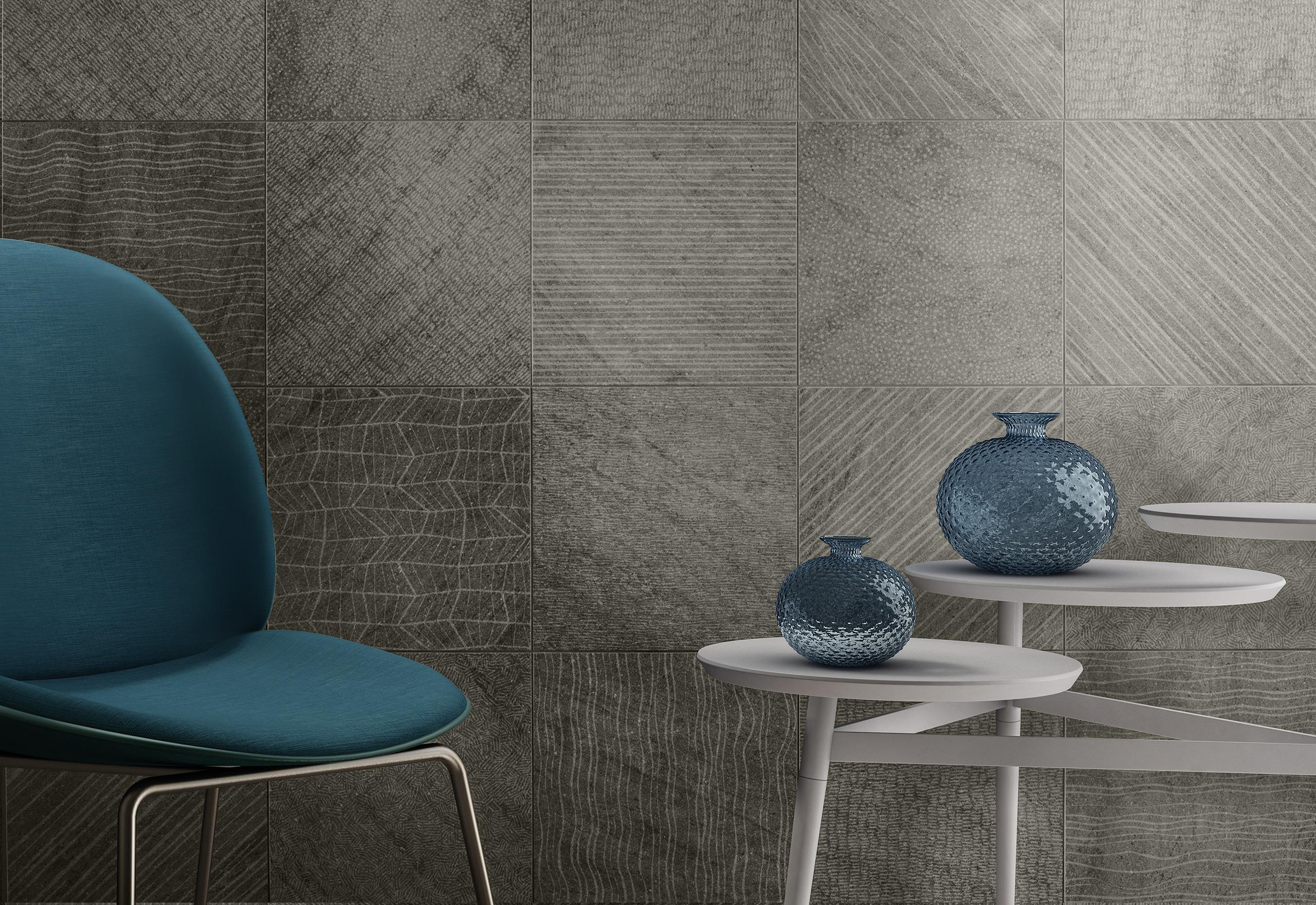 Rendering esterni interni fotorealistici Caesar dettaglio parete grigia